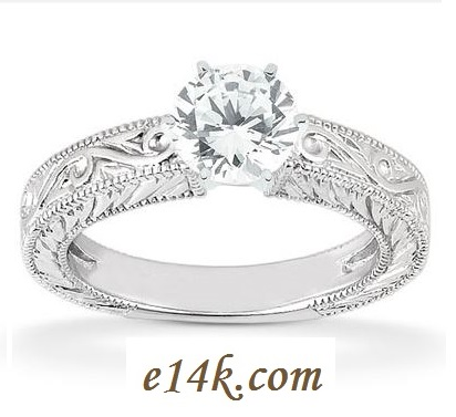 14k Gold Antique CZ Solitaire Ring