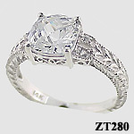 antique rings, white gold cz jewelry, custom jewelry design, cushion cut