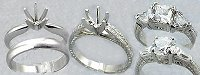 platinum solitaire ring, platinum earrings, stud earrings