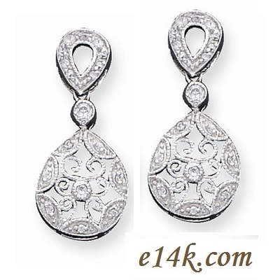 Sterling Silver antique victorian dangle cz earrings