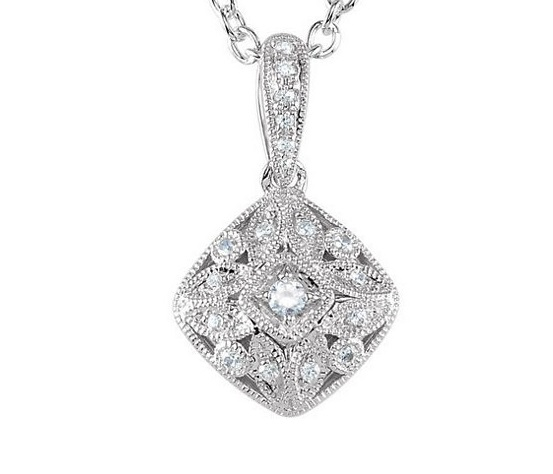 antique cz pendant, sterling silver