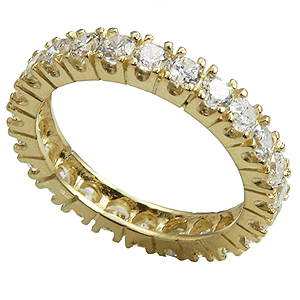 14k Gold Prong Set CZ Cubic Zirconia Eternity Ring Band - Product Image