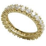 14k Gold Prong Set CZ Cubic Zirconia Eternity Ring Band - Product Image