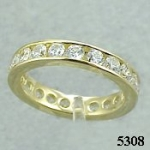 14k Gold Channel Set CZ/Cubic Zirconia Eternity Ring Band - Product Image