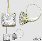 Solid 14k Gold Princess Cut Russian CZ Cubic Zirconia Euro-back Earrings - Product Image