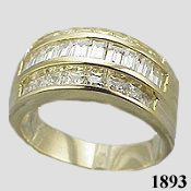 14k Gold Band Channel Princess Baguette Cubic Zirconia Ring - Product Image