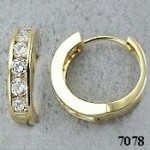 14k Gold Huggie style 1.2ct Channel CZ Cubic Zirconia Hinged Hoop Earrings - Product Image