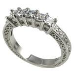 Platinum 1 ctw Princess Antique Wedding/Anniversary CZ Band Ring - Product Image