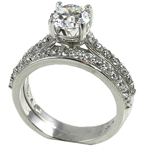 Platinum 1.25 ct Wedding Set CZ Cubic Zirconia Band Ring - Product Image
