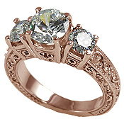 14k Rose Gold 2.5 ctw 3 Stone Antique/Deco CZ Cubic Zirconia Ring - Product Image