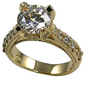 14k Gold 2ct Fancy Antique/Victorian CZ Cubic Zirconia Ring - Product Image