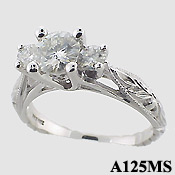 14k Gold 3 Stone Antique style CZ Cubic Zirconia Ring - Product Image