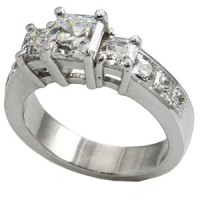 14k Gold 3 Stone Asscher Cut CZ/Cubic Zirconia Anniversary Ring - Product Image