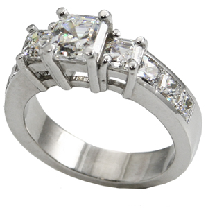 Platinum 3 Stone Asscher Cut CZ/Cubic Zirconia Anniversary Ring - Product Image