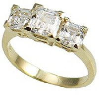 14k Gold 3 Stone Princess  Cut V Prong CZ/Cubic Zirconia Anniversary Ring - Product Image
