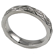 Platinum Antique Lotus Crest Wedding Band Ring - Product Image