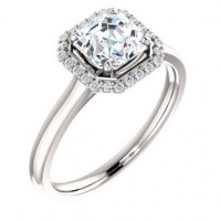 14k Gold CZ Cubic Zirconia Halo Style Asscher Cut Solitaire Engagement Ring - Product Image