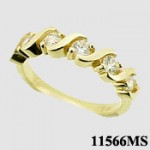 14k Gold CZ Wedding Anniversary 5 Stone Band Ring - Product Image