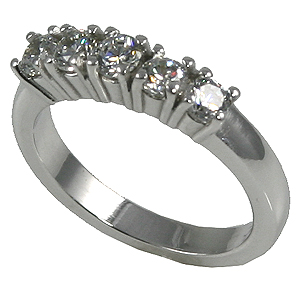 Platinum 5 Stone CZ Wedding Anniversary Band Ring - Product Image