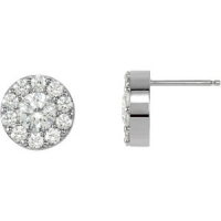 14k Gold Cluster / Halo Round Brilliant Cut Russian CZ Stud Earrings *Popular item* - Product Image