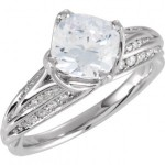 14k Gold Fancy Cubic Zirconia CZ Cushion Cut Center Engagement Ring - Product Image