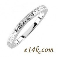 14k Gold Hand-Carved Antique Vintage Filigree Wedding Band - Product Image
