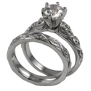 14k Gold Lotus Crest Antique Wedding/Engagement Cubic Zirconia Rings - Product Image