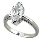 14k Gold Marquis Cut Antique/Scroll Solitaire CZ Cubic Zirconia Ring - Product Image