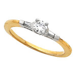 14k Gold Round / Baguette 3 Stone CZ Cubic Zirconia Wedding Engagement Ring - Product Image