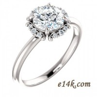 14k Gold Round Cut CZ Halo Style Cubic Zirconia Engagement Ring - Product Image
