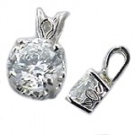 14k Gold Princess Russian CZ Cubic Zirconia Scroll Style Pendant - Product Image