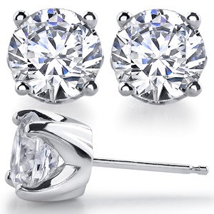 14k Gold Solstice Style Round Brilliant Cut Russian CZ Stud Earrings *Popular item* - Product Image