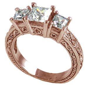 14k Rose Gold 2 ctw 3 Stone Antique Princess CZ Cubic Zirconia Ring - Product Image