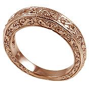 14k Rose Gold 2 Ctw 3 Stone Antique Princess Band Wedding Set Cz Bridal Ring