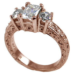 14k Rose Gold 3 Stone Antique Emerald Cut Cubic Zirconia Ring - Product Image