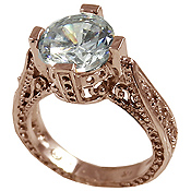 14k Rose Gold 3ct Fancy Antique/Victorian CZ Cubic Zirconia Ring - Product Image