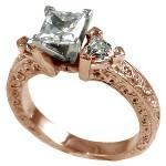 14k Rose Gold Antique/Deco Princess Trillion CZ Cubic Zirconia Ring - Product Image