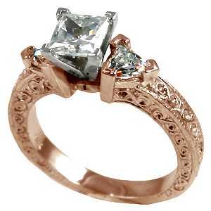 14k Rose Gold Antique Princess/Trillion Antique CZ Wedding Set  - Product Image