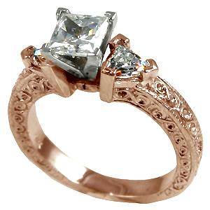 14k Rose Gold Antique Princess Trillion Cz Wedding Set