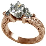 14k Rose Gold Antique/Deco Round Trillions Cubic Zirconia ring - Product Image
