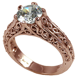 14k Rose Gold Antique/Filigree CZ Cubic Zirconia Solitaire Ring - Product Image