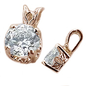 14k Rose Gold Antique/Scroll Style CZ Cubic Zirconia Pendant - Product Image