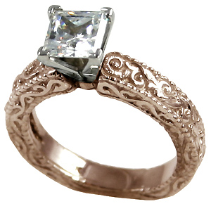 14k Rose Gold Antique Victorian Engagement CZ Cubic Zirconia Ring - Product Image