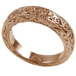 14k Rose Gold Antique Victorian Wedding Band Ring - Product Image