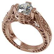 14k Rose Pink Gold 1ct Fancy Antique/Victorian CZ Cubic Zirconia Ring - Product Image