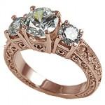 14k Rose Gold 2.5 ctw 3 Stone Antique/Deco CZ Cubic Zirconia Ring - Product Image