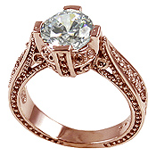 14k Rose Pink Gold 2ct Fancy Antique/Victorian CZ Cubic Zirconia Ring - Product Image