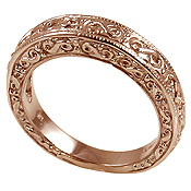 14k Rose Pink Gold Antique Fancy Wedding Band Ring - Product Image