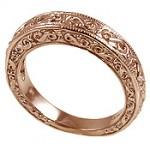 14k Rose Pink Gold Antique Fancy Wedding Band Ring - Product Image