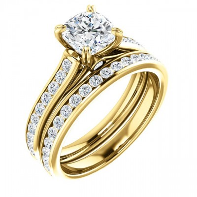 14k Yellow Gold CZ Cubic Zirconia Round Or Cushion Cut Accented Engagement Ring - Product Image